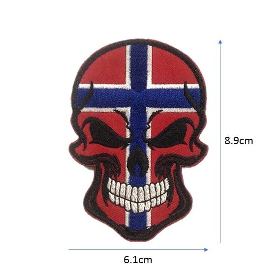 Norway Skull Embroidery Patch