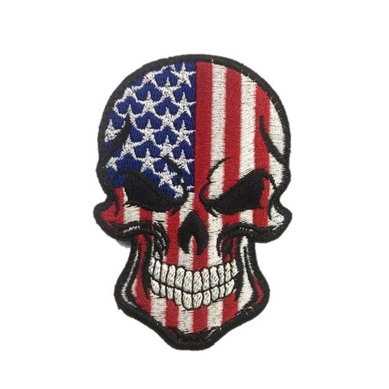 US Skull Embroidery Patch