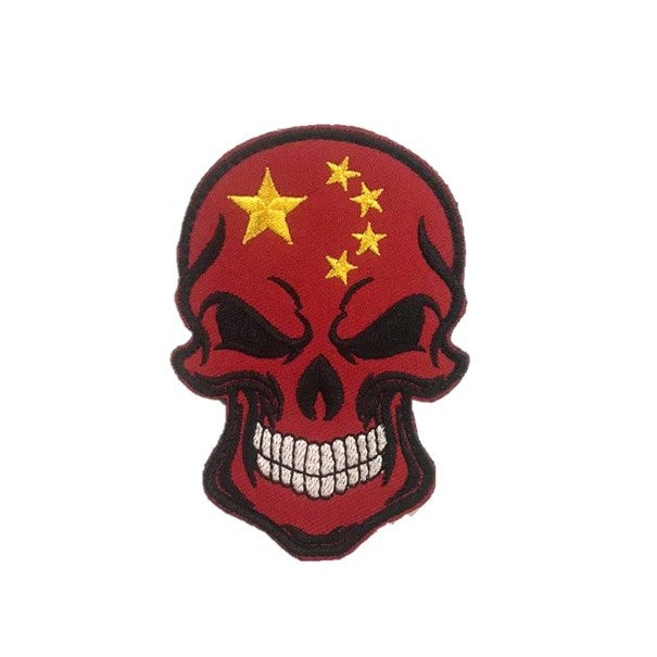 China Skull Embroidery Patch