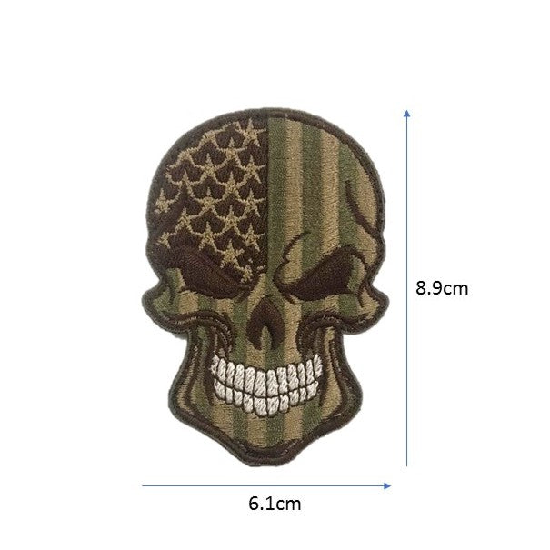 US Skull Embroidery Patch Olive / Brown