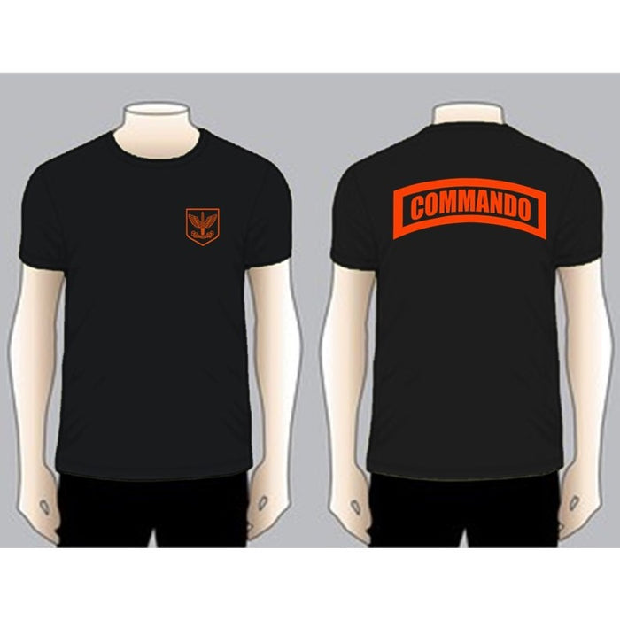 COMMANDO Black Unit T-shirt, Red on Black