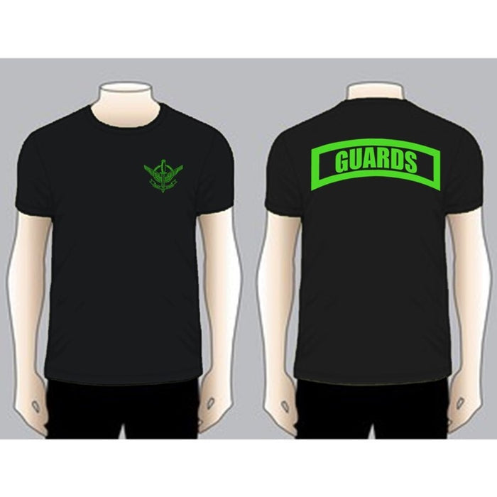 GUARDS Black Unit T-shirt, Green on Black