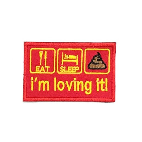 I'm loving it! Embroidery Patch, Yellow on Red