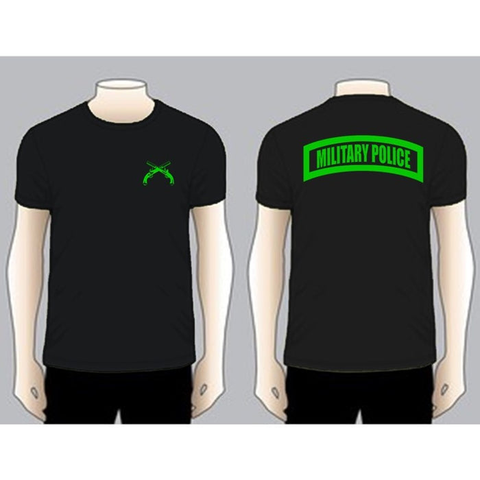 MILITARY POLICE Black Unit T-shirt, Green on Black