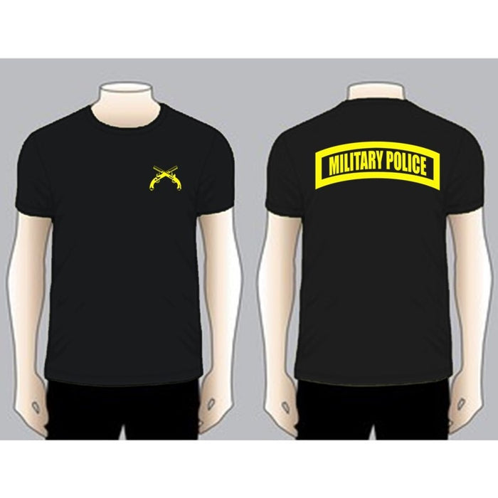 MILITARY POLICE Black Unit T-shirt, Yellow on Black