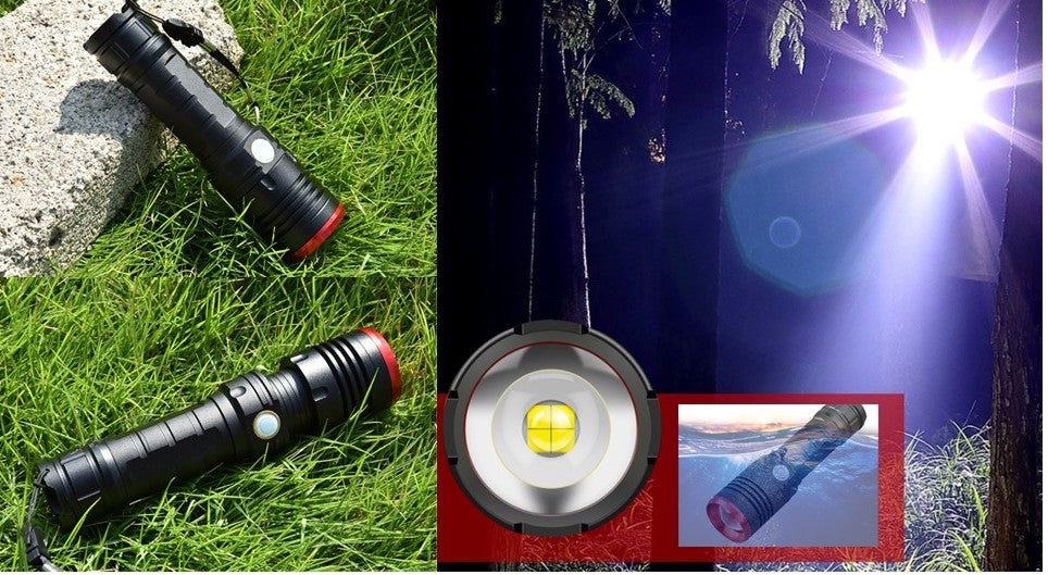 Black / Red tip P50 Tactical Flashlight