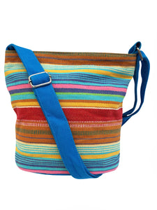 BLUE Multi Striped Canvas Cross Boho Body Bag