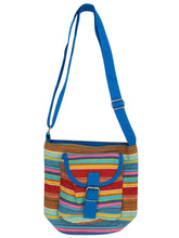 Load image into Gallery viewer, BLUE Multi Striped Canvas Cross Boho Body Bag