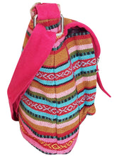 Load image into Gallery viewer, Pink Multi Striped Canvas Cross Body Boho Hippy Bag