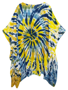 Bright Tropical Plus Size Kaftan Tunic Cover-up - Size 16 to 34