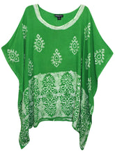 Load image into Gallery viewer, Light Green and White Batik Embroidered Plus Size Kaftan Tunic Cover-up - Size 16 to 34