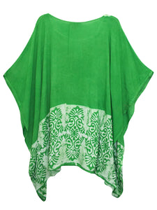 Light Green and White Batik Embroidered Plus Size Kaftan Tunic Cover-up - Size 16 to 34