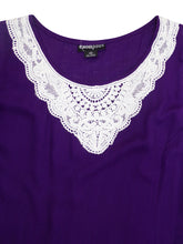 Load image into Gallery viewer, PURPLE Sleeveless Crochet Lace Tunic - Plus Size 18 to 26
