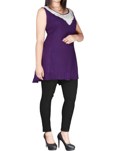 PURPLE Sleeveless Crochet Lace Tunic - Plus Size 18 to 26