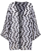 Load image into Gallery viewer, WHITE Horizontal Chevron Print Chiffon Plus Size Cover-Up Kimono - Size 16 to 28