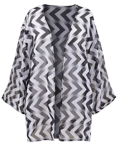 WHITE Horizontal Chevron Print Chiffon Plus Size Cover-Up Kimono - Size 16 to 28