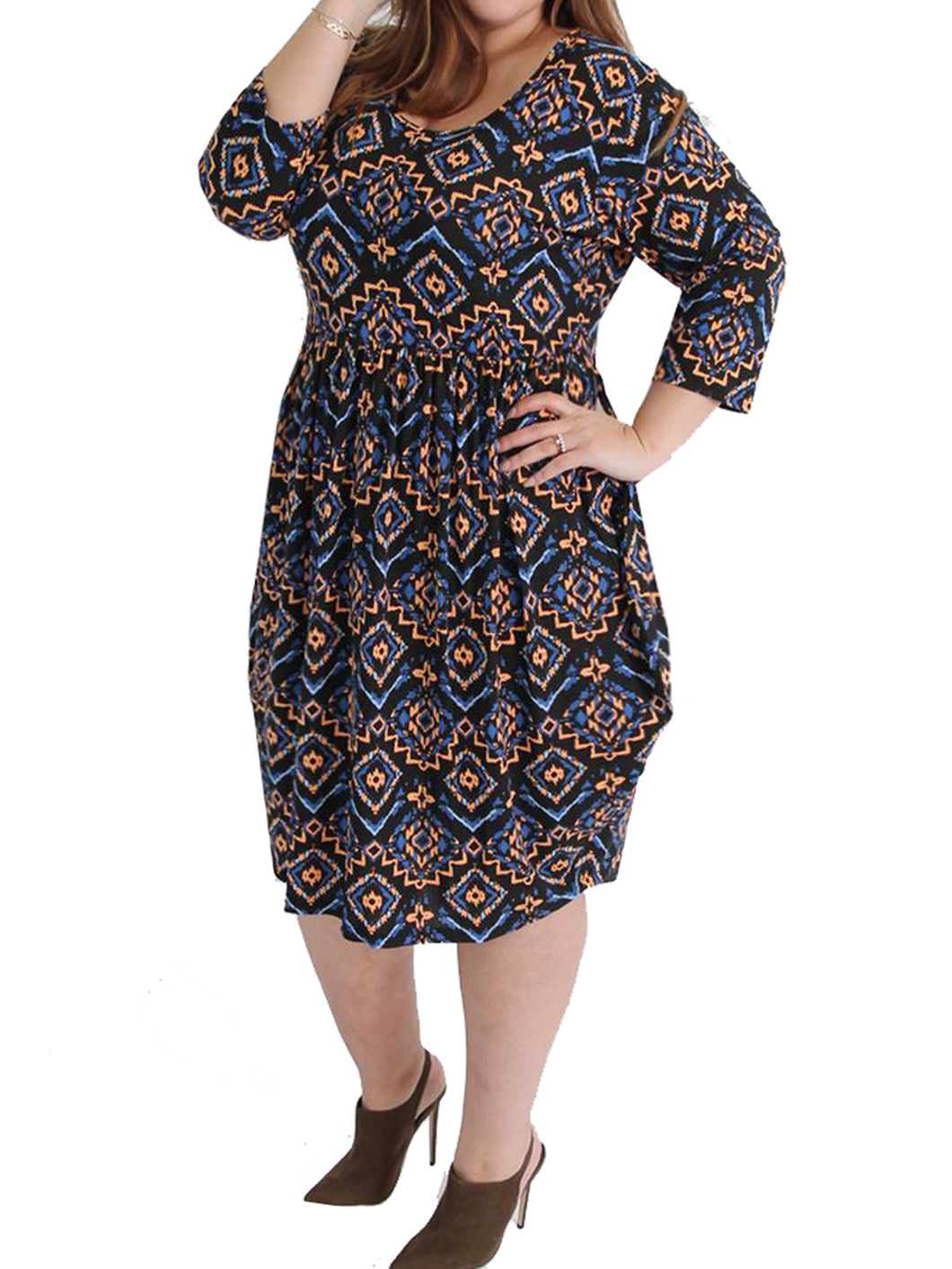 NAVY Coveted Drape Side Tribal Print Jersey Dress - Plus Size 16 to 30/32