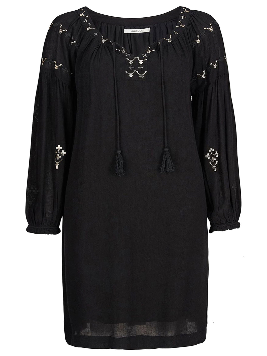 BLACK Embroidered Wildflower BoHo Dress – UK Size 12/14 to 24/26 (EU 34/36 to 50/52)
