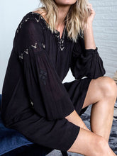 Load image into Gallery viewer, BLACK Embroidered Wildflower BoHo Dress – UK Size 12/14 to 24/26 (EU 34/36 to 50/52)