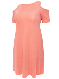 CORAL Cold Shoulder Shimmer Swing Tunic Dress - Size 16 to 26