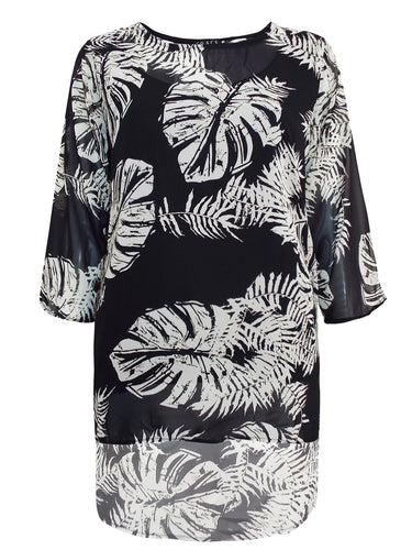 BLACK Plus Size Palm Leaf Printed Chiffon Overlay Top - Size 16 to 26