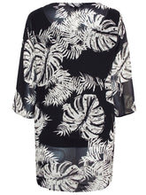 Load image into Gallery viewer, BLACK Plus Size Palm Leaf Printed Chiffon Overlay Top - Size 16 to 26