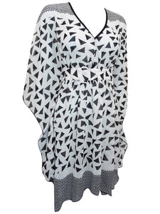 Black White Geo Print Sheer Tunic Kaftan Beach Cover-up -Size 10/12 to 22/24