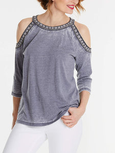 Grey Cotton Rich Soft Embroidered Cold Shoulder Top - Size 16 to 22
