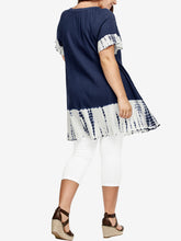 Load image into Gallery viewer, NAVY Pure Cotton Tie Dye Border Top - Plus Size 16/18 to 32/34 (EU 42/44 to 58/60)