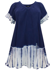 NAVY Pure Cotton Tie Dye Border Top - Plus Size 16/18 to 32/34 (EU 42/44 to 58/60)