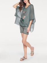 Load image into Gallery viewer, Green Oversized Printed Chiffon Blouse/ Kaftan Top - Size 8 to 26/28 (EU 34 to 52/54)