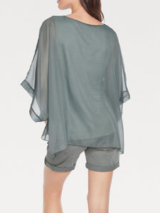 Green Oversized Printed Chiffon Blouse/ Kaftan Top - Size 8 to 26/28 (EU 34 to 52/54)