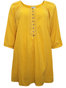 MUSTARD Pure Cotton Embroidered Crinkle Top Tunic - Plus Size 16/18 to 28/30