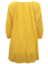 Load image into Gallery viewer, MUSTARD Pure Cotton Embroidered Crinkle Top Tunic - Plus Size 16/18 to 28/30
