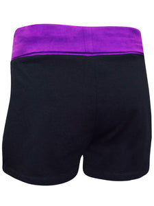 BLACK Cotton Rich Contrast Waist Sport Yoga Shorts Size 8 - 24