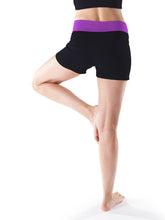 Load image into Gallery viewer, BLACK Cotton Rich Contrast Waist Sport Yoga Shorts Size 8 - 24