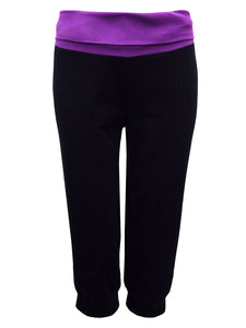 BLACK Cotton Rich Wide Contrast Waist Cropped Sport Bottoms - Size 10/12 to 26