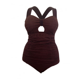 Vintage retro brown swimsuit front display