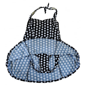 vintage and retro black with white polka dots halterneck swimdress showing lining and brief