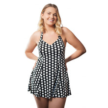 Load image into Gallery viewer, Woman wearing vintage and retro black with white polka dots halterneck swimdress front facing