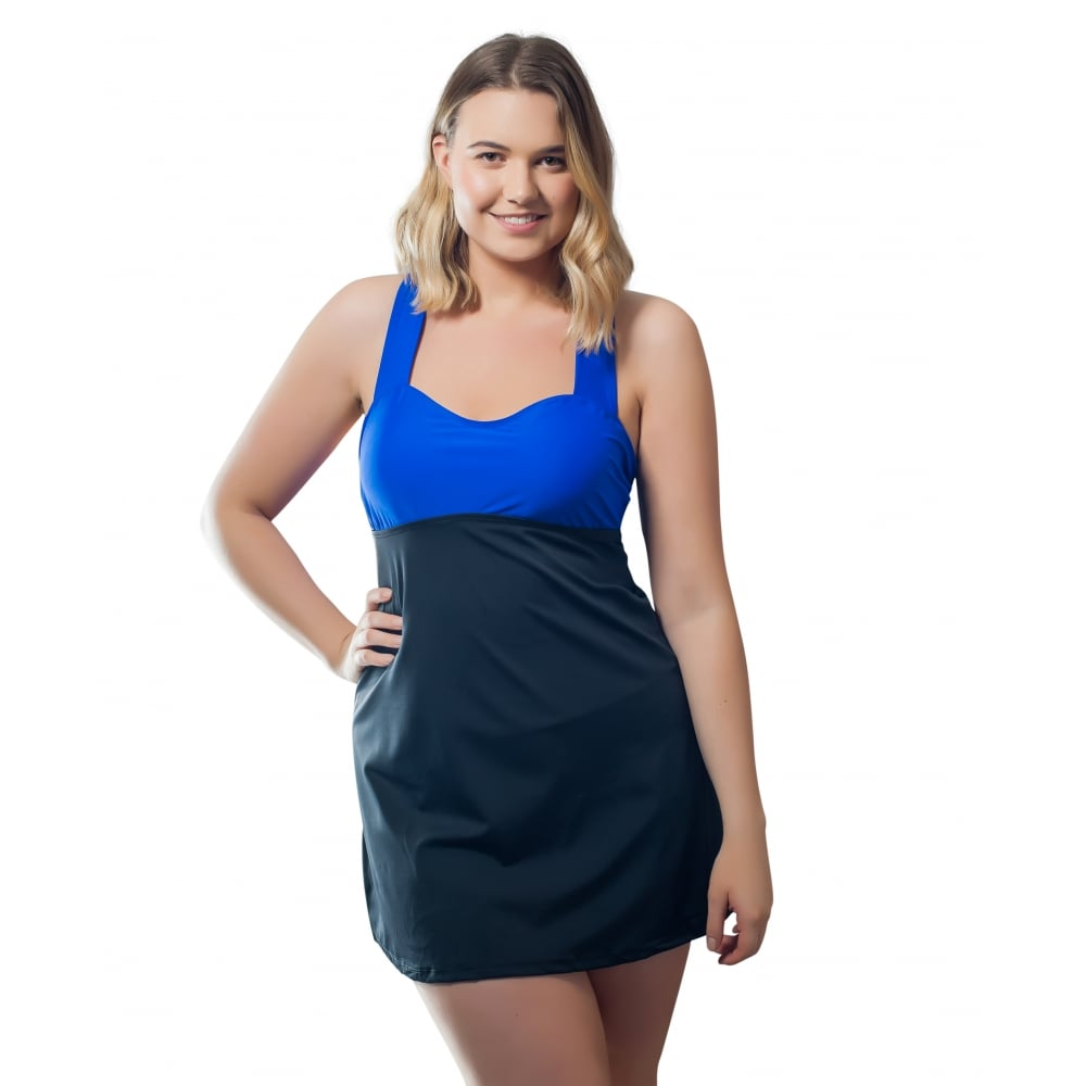 woman modelled colour block black skirt blue top one piece swimdress front