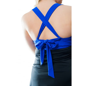 woman modelled colour block black skirt blue top one piece swimdress rear crossed straps