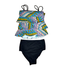 Load image into Gallery viewer, abstract blue green tribal floaty tankini set layout