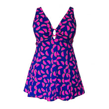 Load image into Gallery viewer, Vibrant blue with fun pink green watermelon print swimdress front