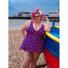 Load image into Gallery viewer, jellywtbelly at beach modelling vibrant blue with pink green watermelon print swimdress front photo by @jonaseh72