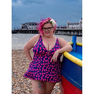 jellywtbelly at beach2 modelling vibrant blue with pink green watermelon print swimdress front photo by @jonaseh72