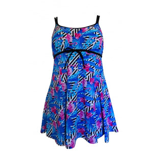 funky bright blue flamingo swimdress front