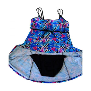 funky bright blue flamingo swimdress showing lining and brief