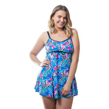 Load image into Gallery viewer, woman modelling funky bright blue flamingo swimdress front