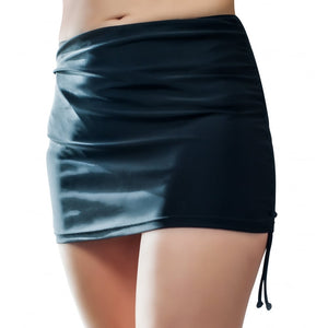 black swimskirt on model front